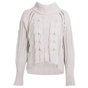 ba045ed012dcca fairlygirly Sweaters - Loose Cable Knit Chunky Turtleneck Sweater Putty